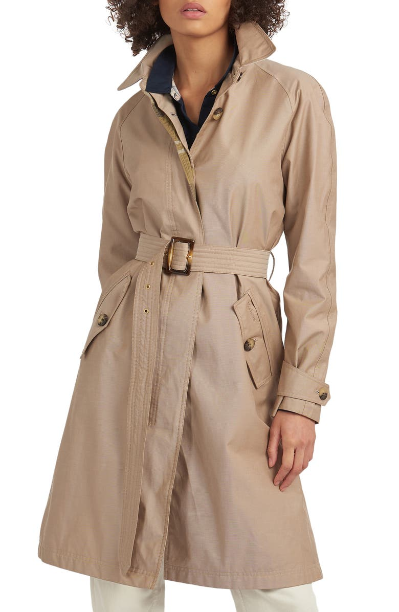BARBOUR Brunswick Belted Trench Raincoat, Main, color, LIGHT TRENCH/ OLIVE TARTAN