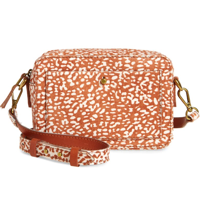 MADEWELL The Transport Camera Bag: Animal Spot Calf Hair Edition, Main, color, 200