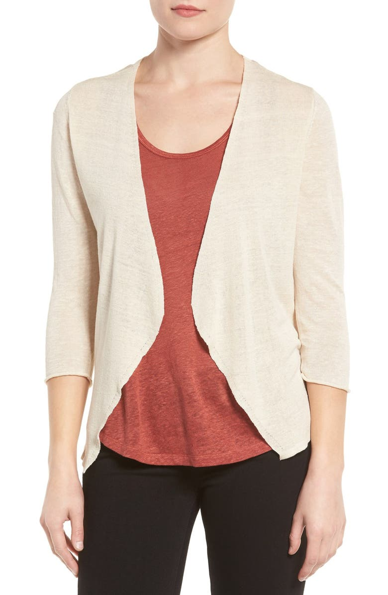 NIC+ZOE Open Blazer Cardigan, Main, color, SAND SHELL