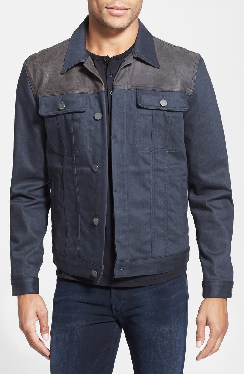 7 FOR ALL MANKIND<SUP>®</SUP> 'Luxe Performance' Modern Trucker Denim Jacket with Leather Trim, Main, color, 021