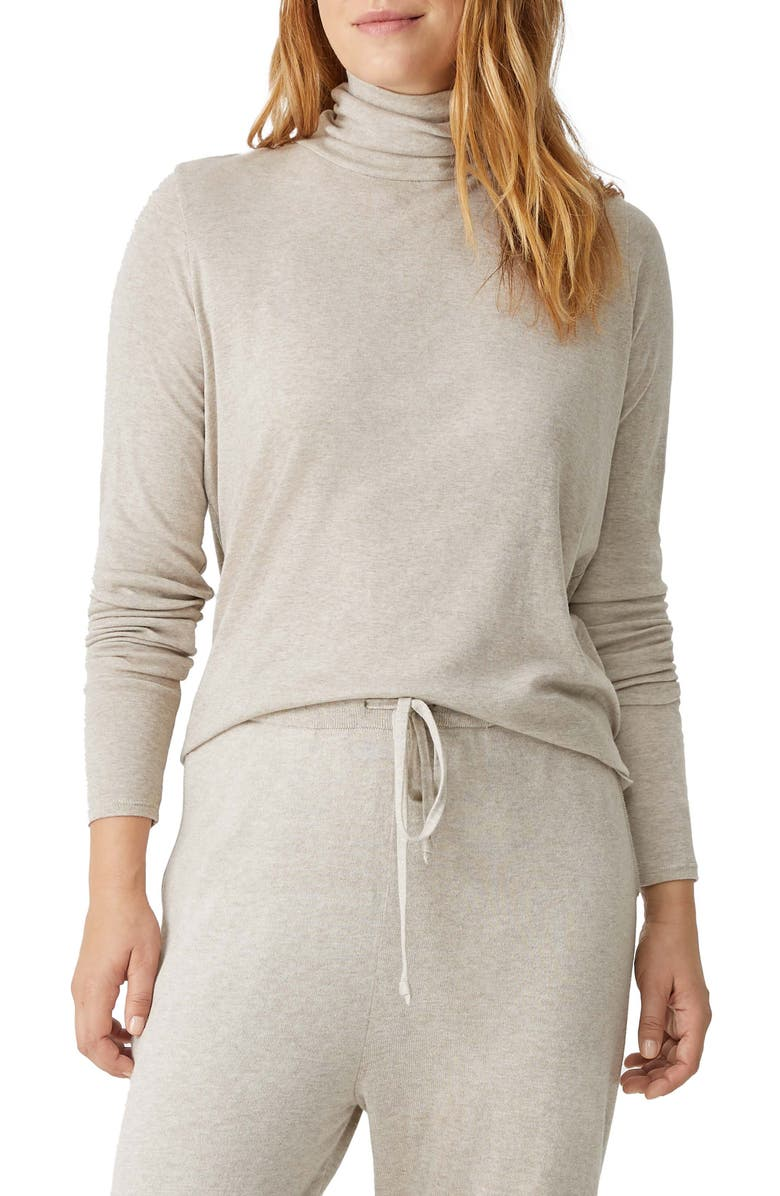 EILEEN FISHER Scrunch Neck Top, Main, color, WHEAT