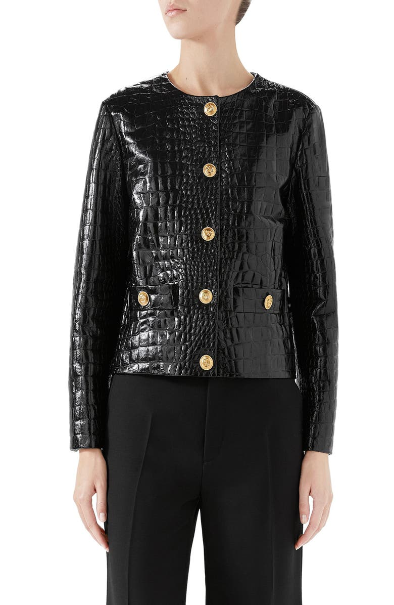 GUCCI Croc Embossed Leather Jacket, Main, color, 001