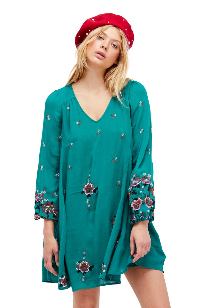 FREE PEOPLE Embroidered Minidress, Main, color, 300