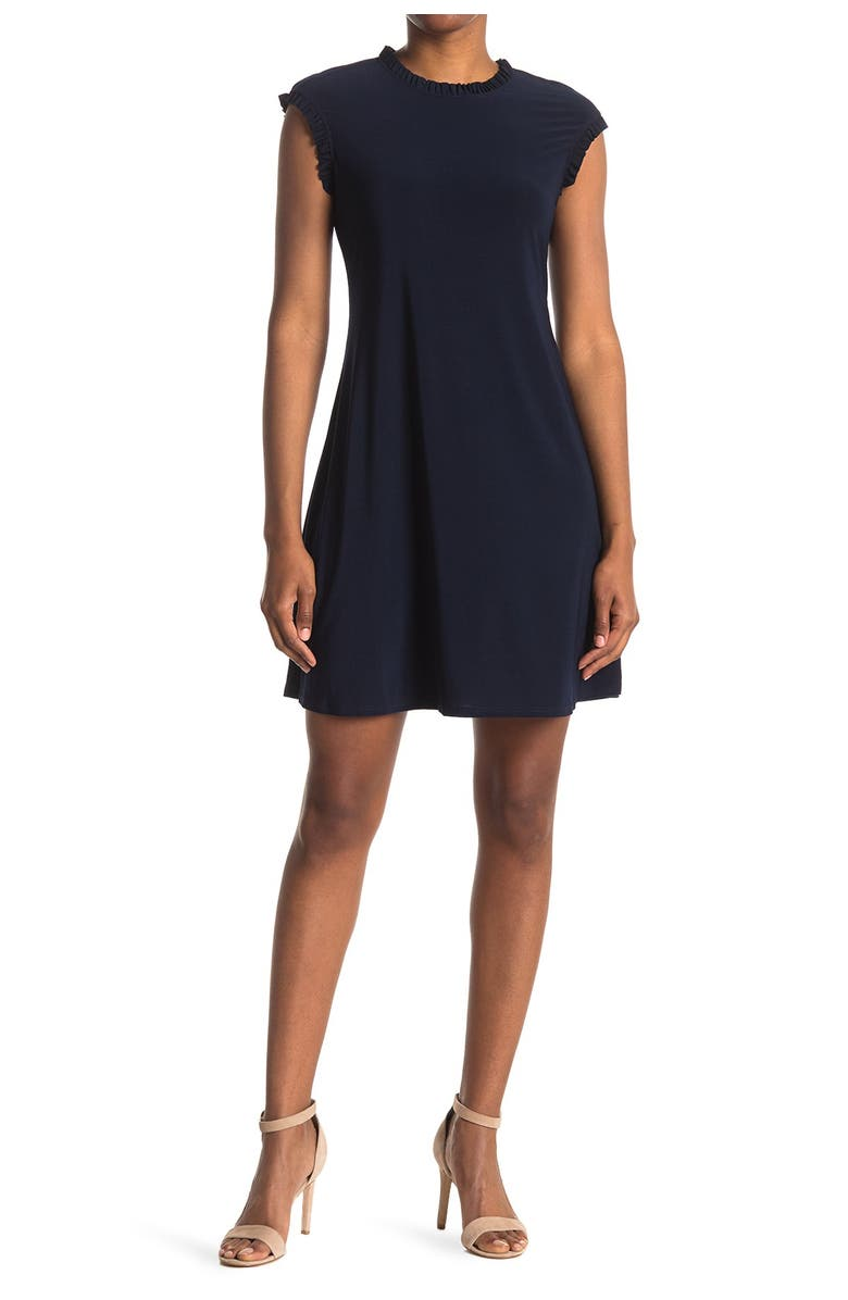 TASH AND SOPHIE Ruffled Cap Sleeve Jersey Shift Dress, Main, color, NVY