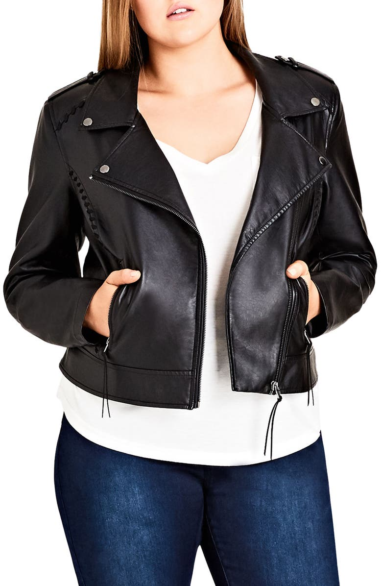 CITY CHIC Whipstitched Biker Jacket, Main, color, 001