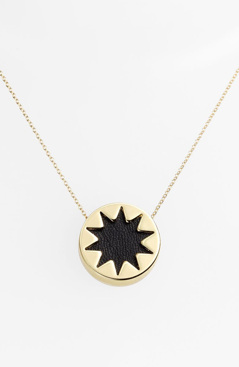 HOUSE OF HARLOW 1960 Mini Sunburst Pendant Necklace, Main, color, 001