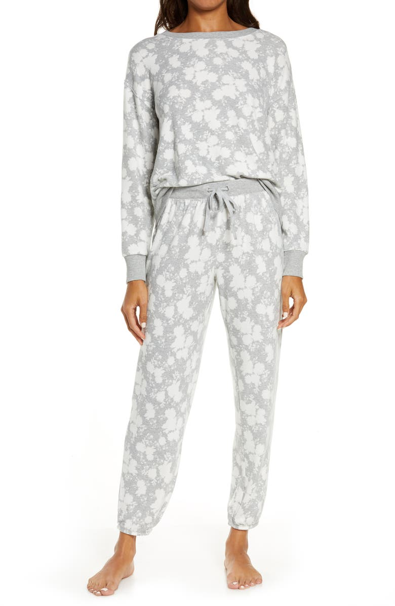 SPLENDID Long Sleeve Pajamas, Main, color, FLORAL GREY HEATHER
