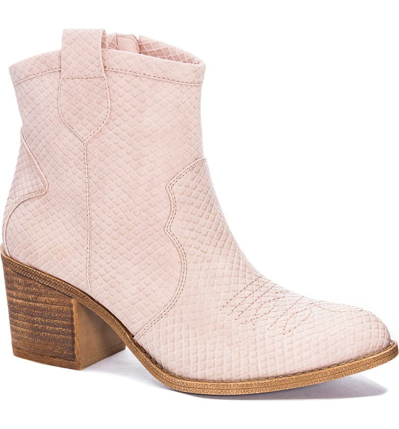 DIRTY LAUNDRY Unite Western Bootie, Main, color, BLUSH FAUX LEATHER