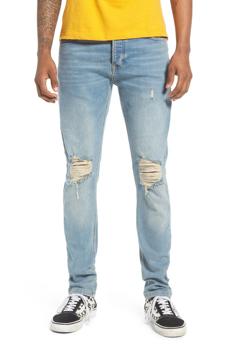 TOPMAN Ripped Stretch Skinny Fit Jeans, Main, color, 450