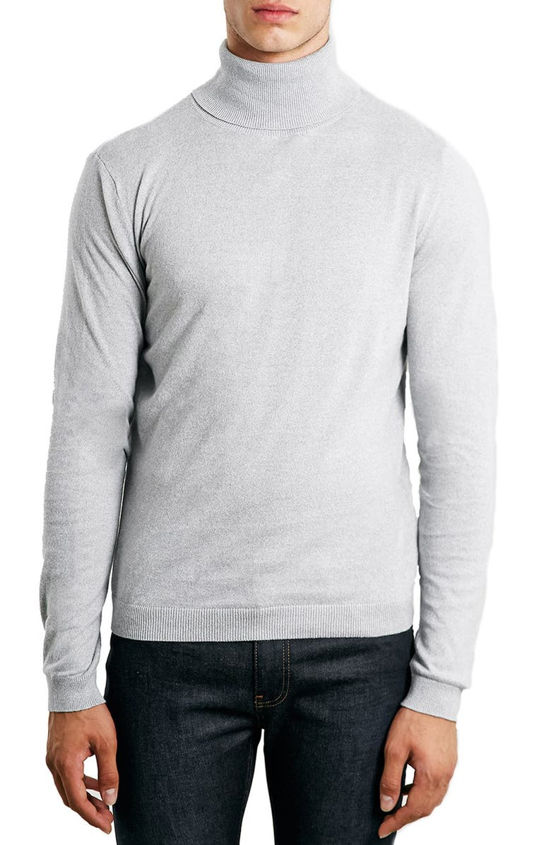 TOPMAN Cotton Turtleneck Sweater, Main, color, 020