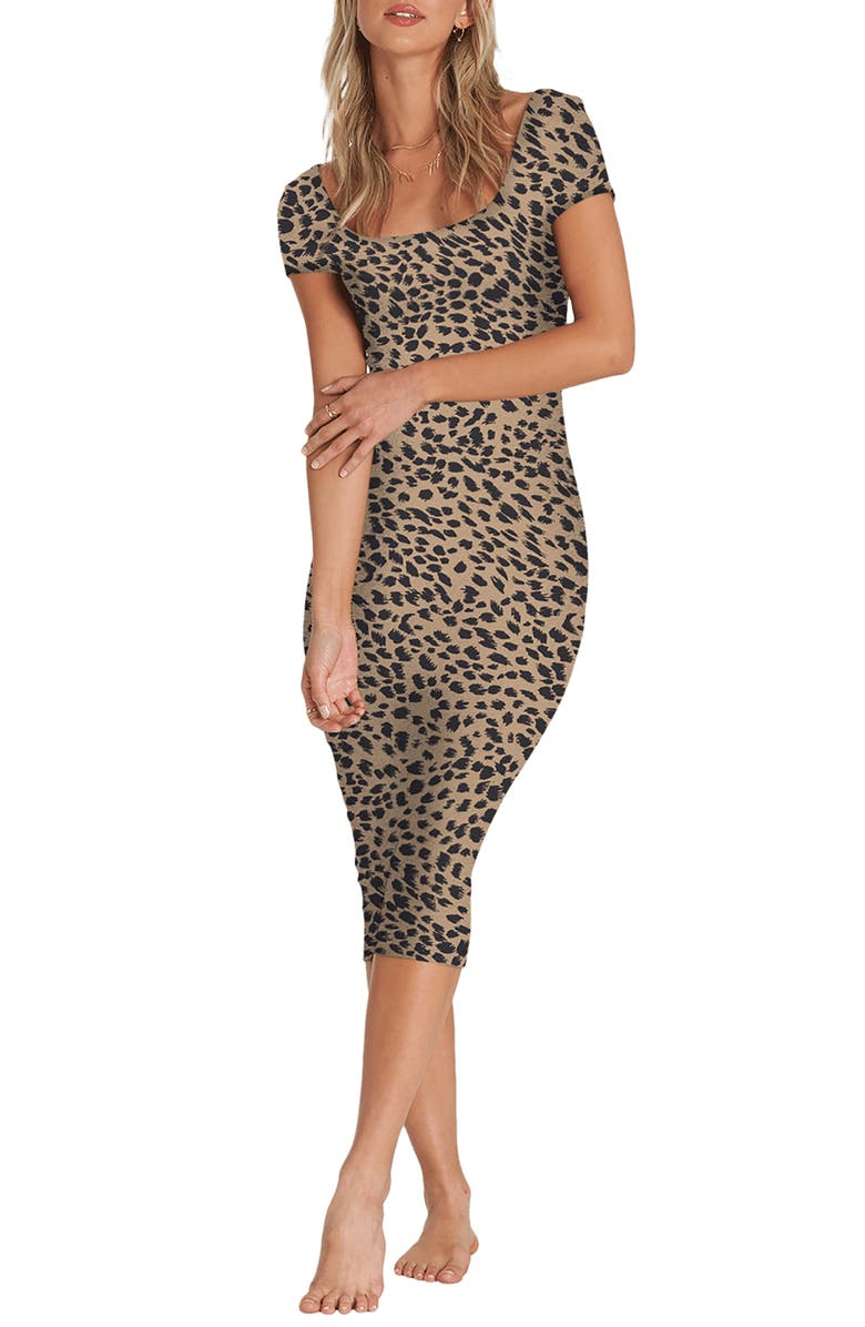BILLABONG Mid Day Cheetah Print Body-Con Midi Dress, Main, color, ANIMAL