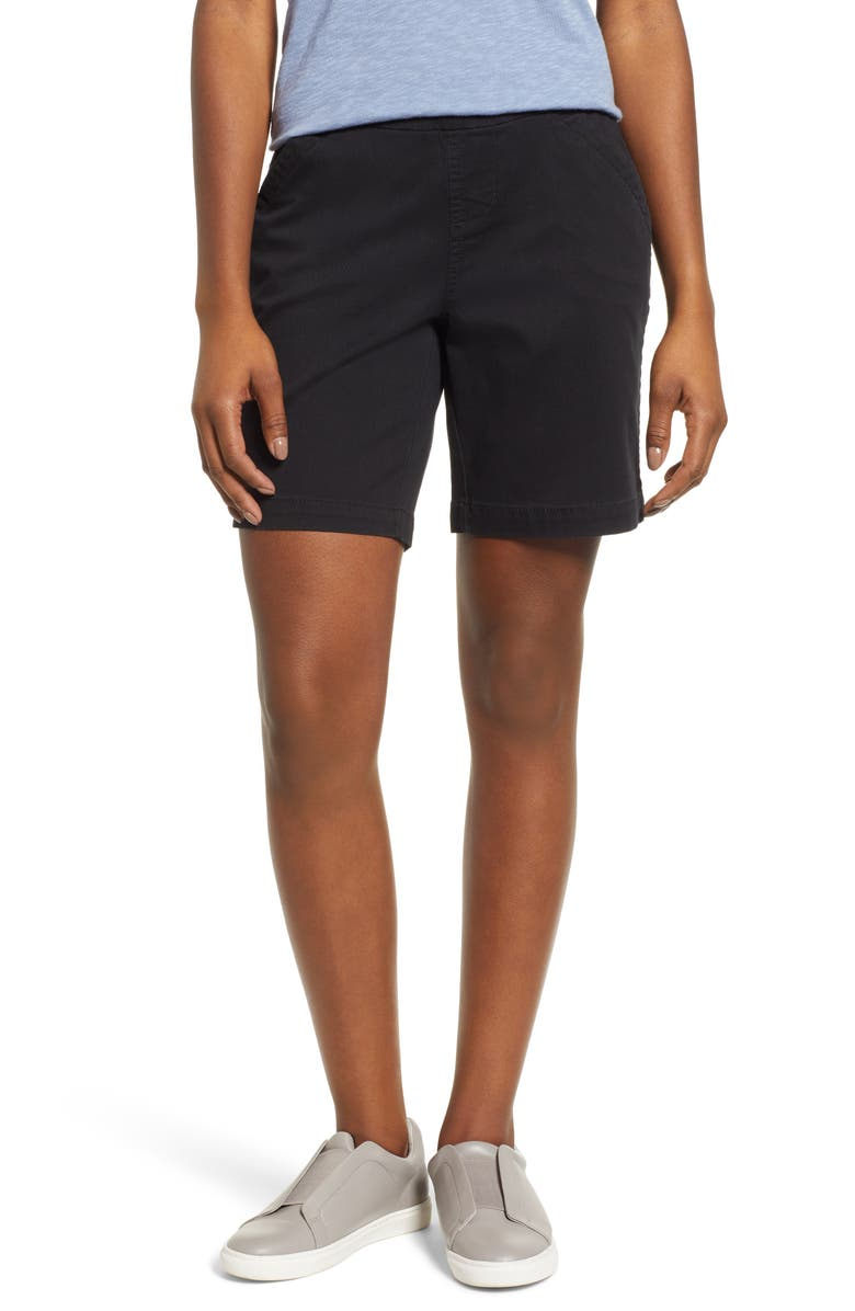 JAG JEANS Gracie Stretch Cotton Shorts, Main, color, BLACK