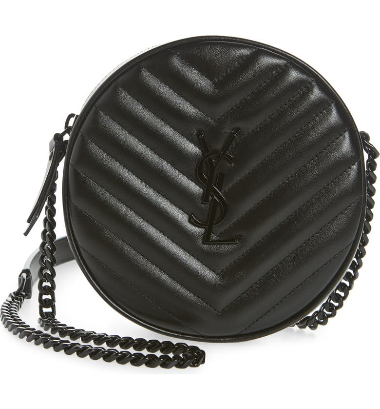 SAINT LAURENT Vinyle Matelassé Leather Crossbody Bag, Main, color, NOIR
