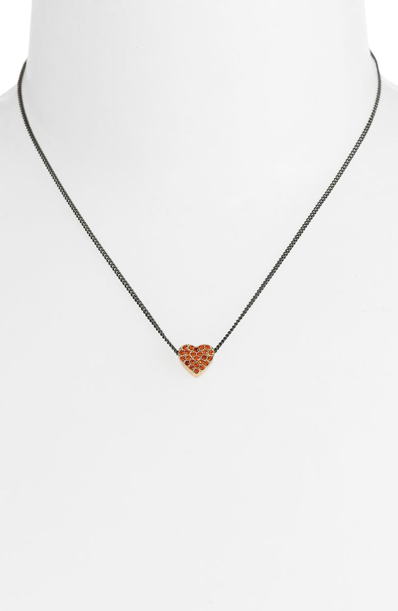 MARC BY MARC JACOBS 'Annabelle' Pavé Heart Necklace, Main, color, HYACINTH/ HEMATITE