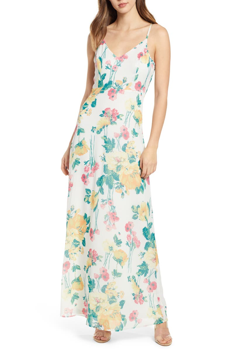 LEITH Floral Covered Button Maxi Dress, Main, color, IVORY FEM FLORAL