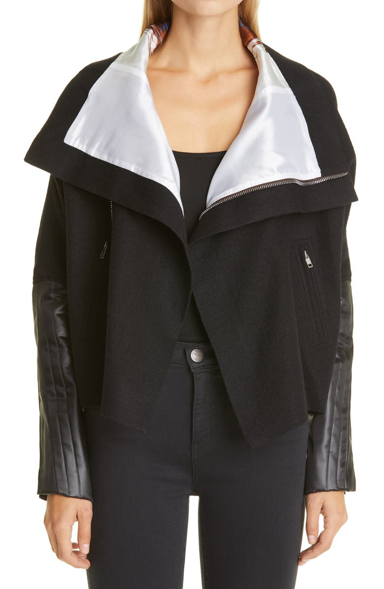 RICK OWENS Mixed Media Jacket, Main, color, BLACK/ WHITE/ RUST/ NU BLU