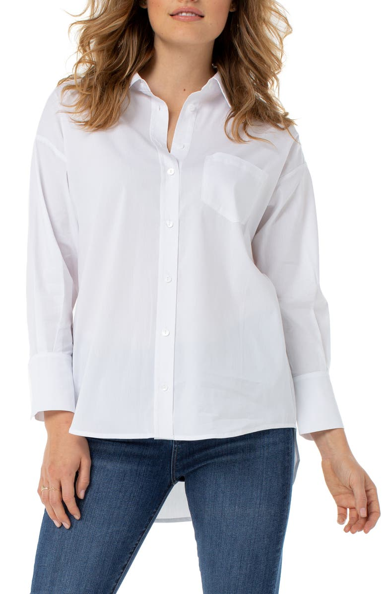LIVERPOOL Oversize Classic Button-Up Shirt, Main, color, WHITE