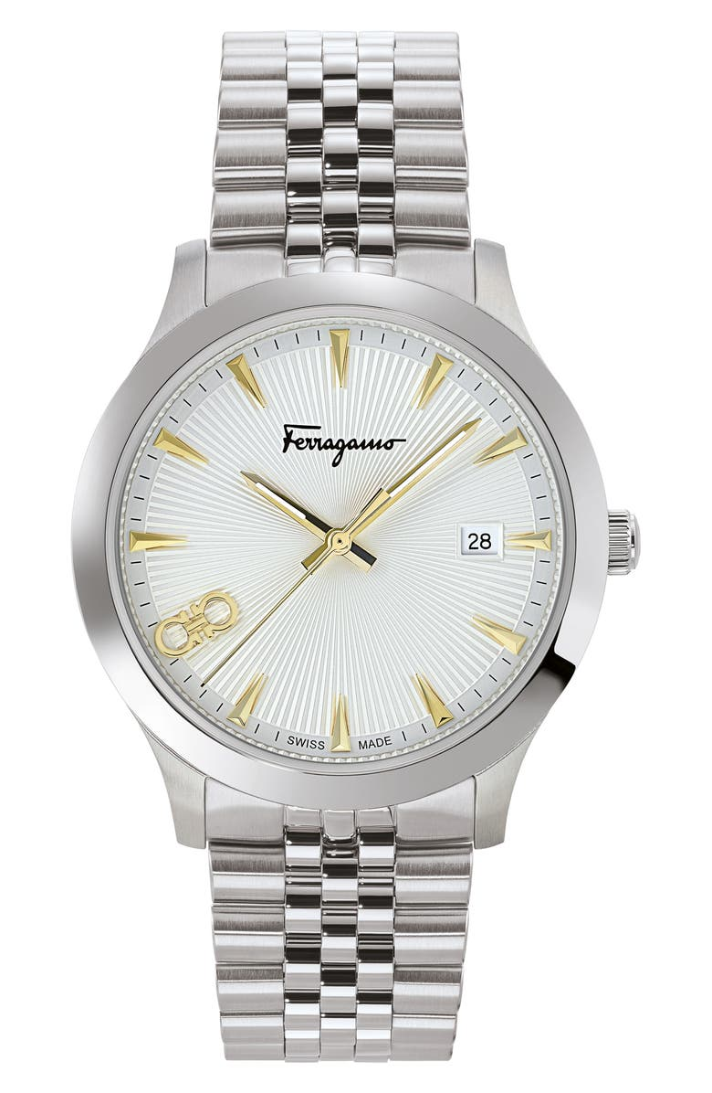 SALVATORE FERRAGAMO Duo Bracelet Watch, 40mm, Main, color, SILVER