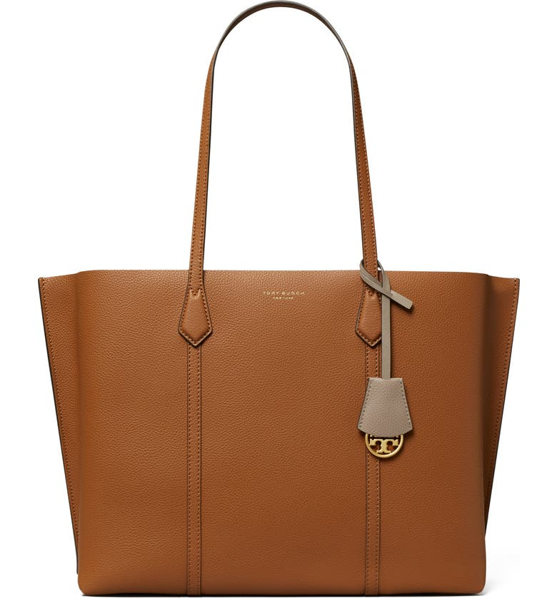 TORY BURCH Perry Triple Compartment Leather Tote, Main, color, LIGHT UMBER