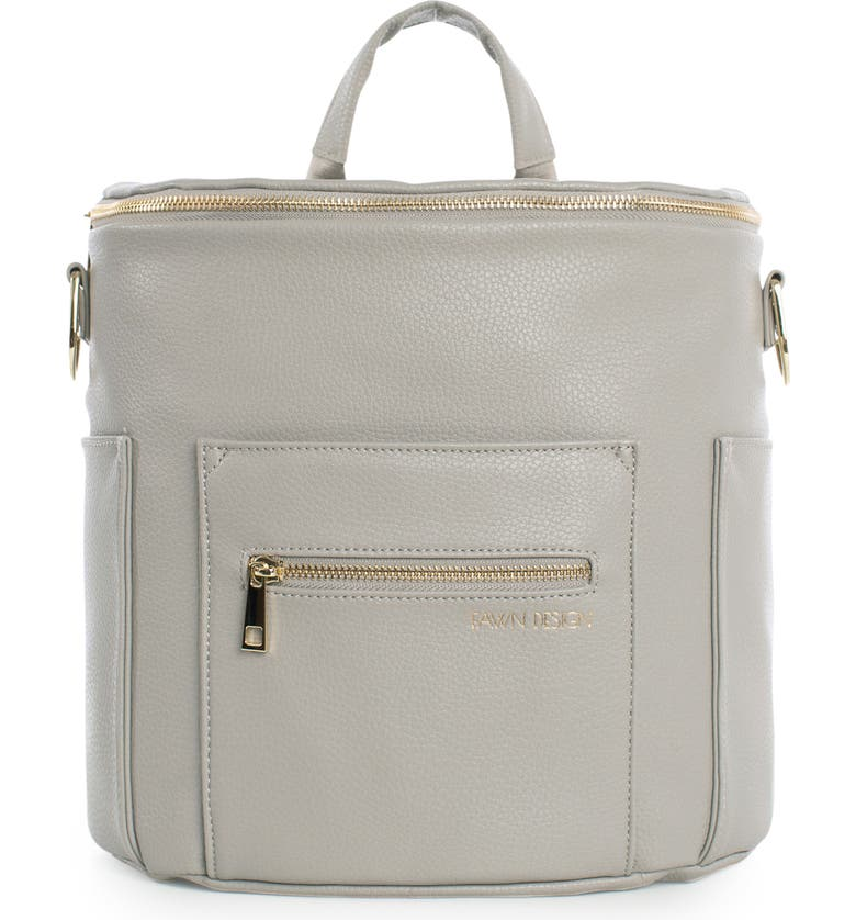 FAWN DESIGN The Mini Convertible Water Resistant Faux Leather Diaper Bag, Main, color, GREY