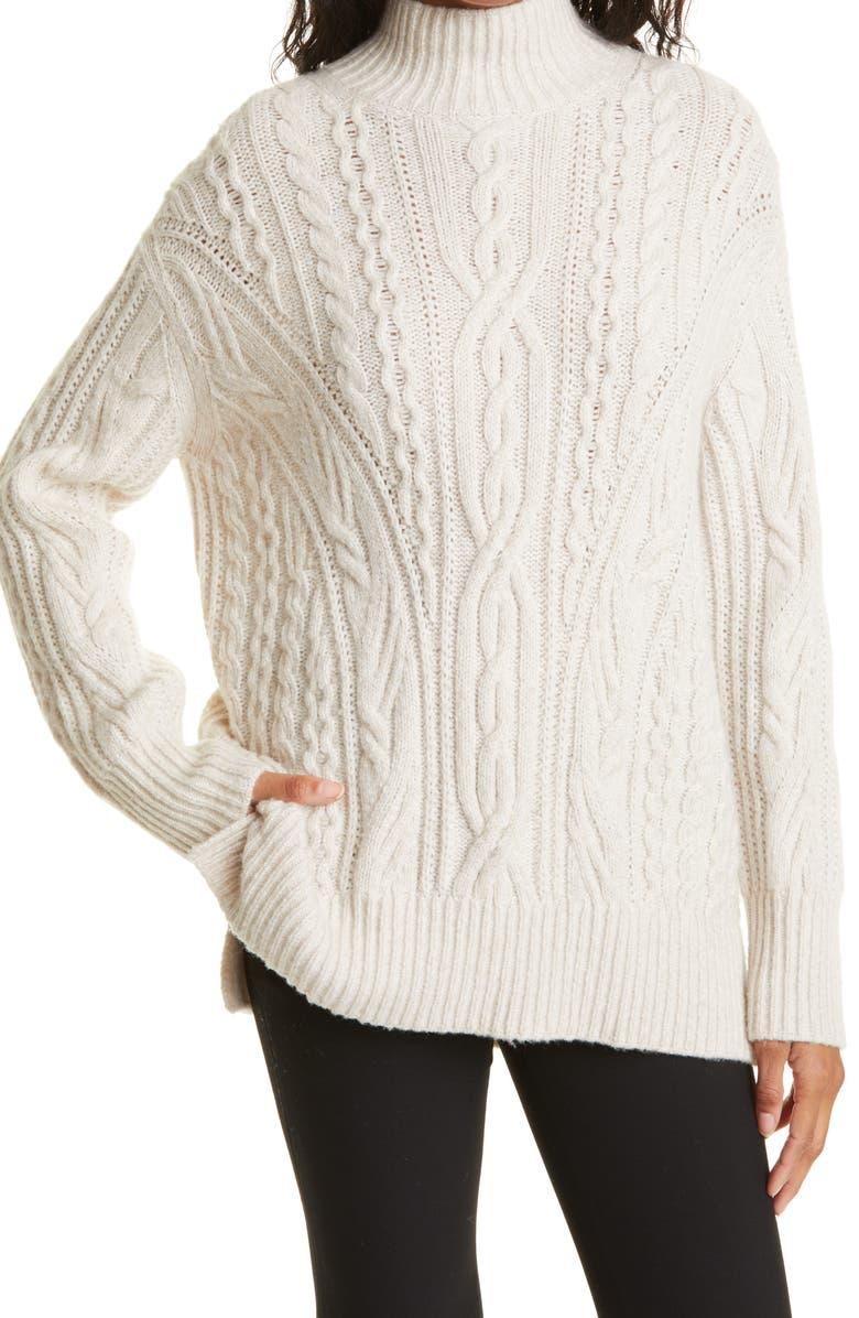 VINCE Cable Extrafine Merino Wool Blend Mock Neck Sweater, Main, color, OFF WHITE/ MARZIPAN