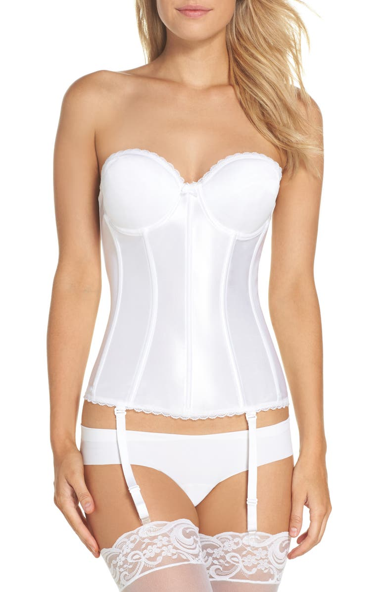 VA BIEN Smooth Satin Hourglass Bustier, Main, color, White