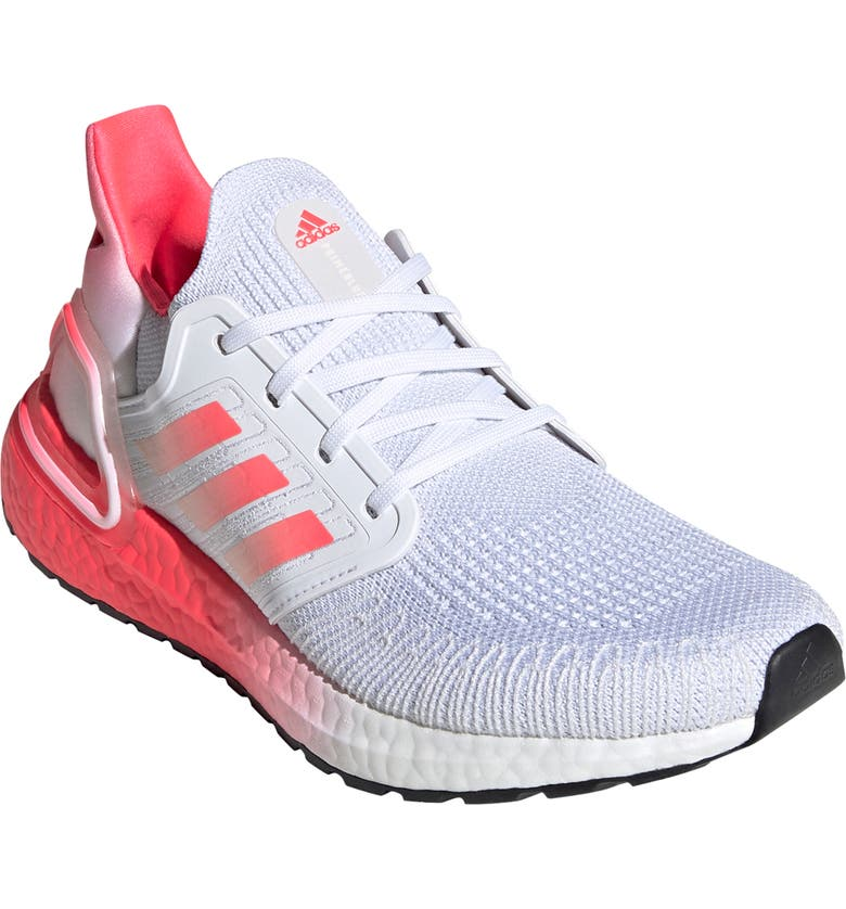 ADIDAS UltraBoost 20 Running Shoe, Main, color, WHITE/ SIGNAL PINK