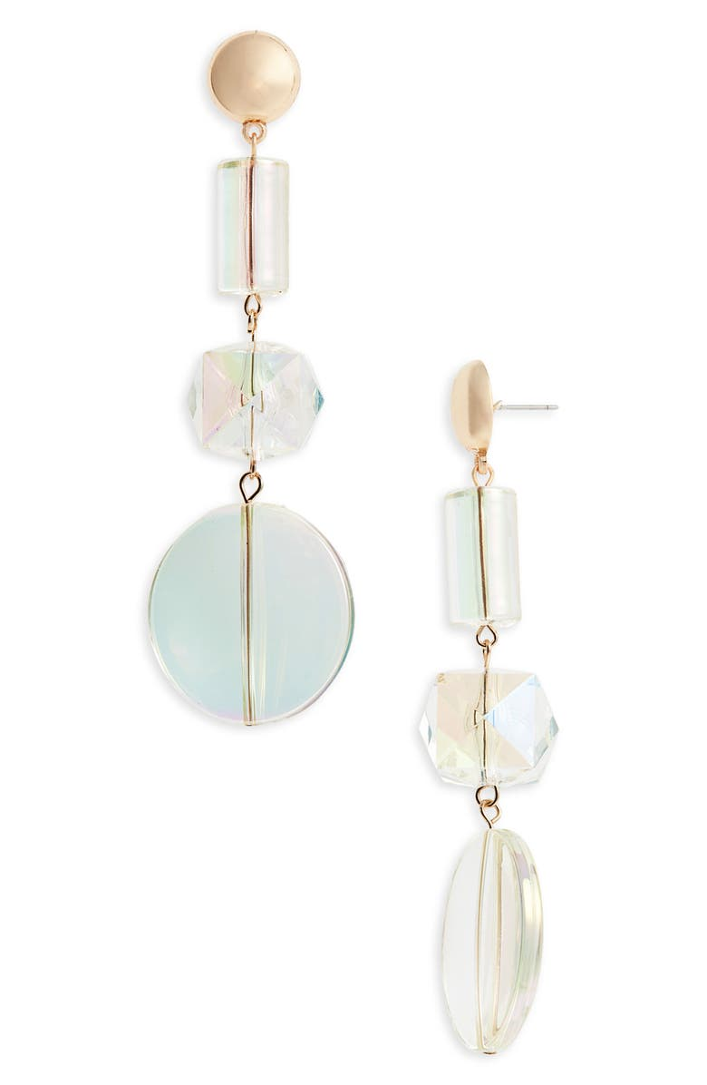 LEITH Iridescent Geo Drop Earrings, Main, color, GOLD/ CLEAR