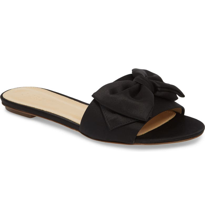 J.CREW Knotted Satin Bow Slide, Main, color, 001