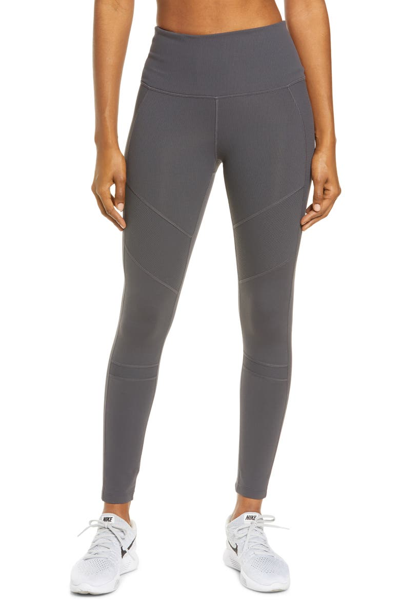 ZELLA Moto Ribbed High Waist Ankle Leggings, Main, color, GREY FORGED