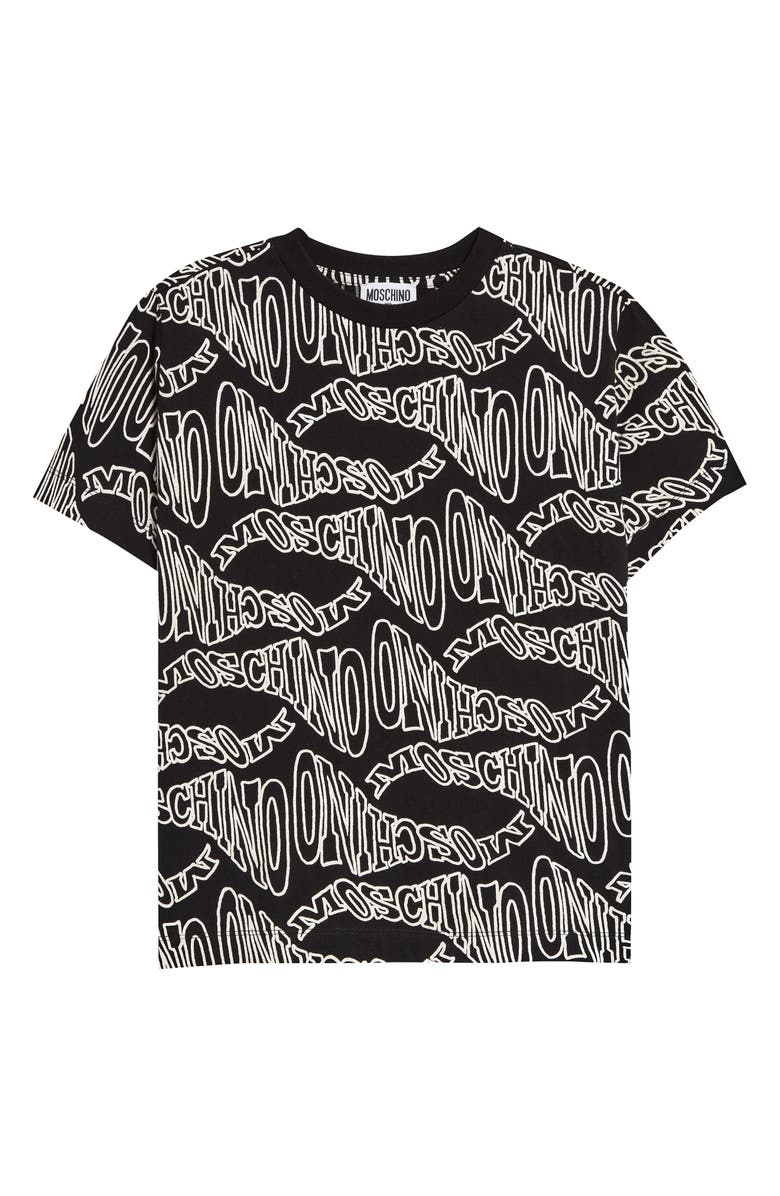 MOSCHINO Twisted Logo Graphic Tee, Main, color, 001