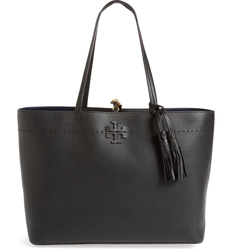 TORY BURCH McGraw Leather Laptop Tote, Main, color, 018