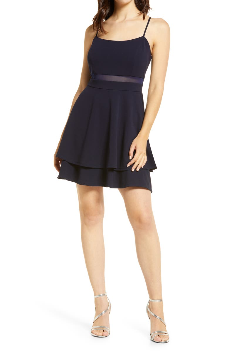 LOVE, NICKIE LEW Layered Mini Skater Dress, Main, color, NAVY