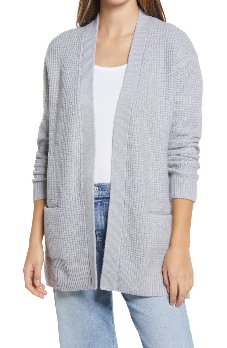 CASLON<SUP>®</SUP> Open Front Cardigan Sweater, Main, color, GREY HEATHER
