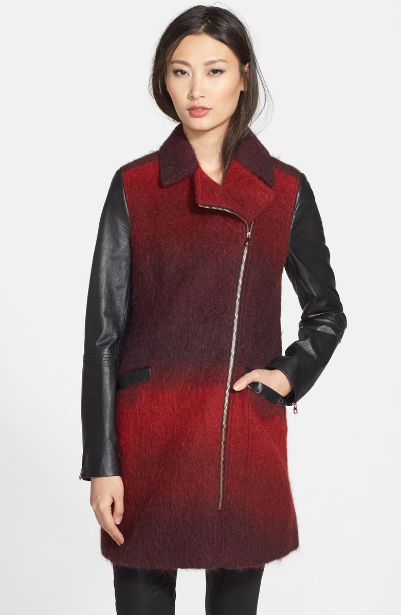 TED BAKER LONDON 'Annamae' Ombré Moto Jacket with Leather Sleeves, Main, color, TANGERINE