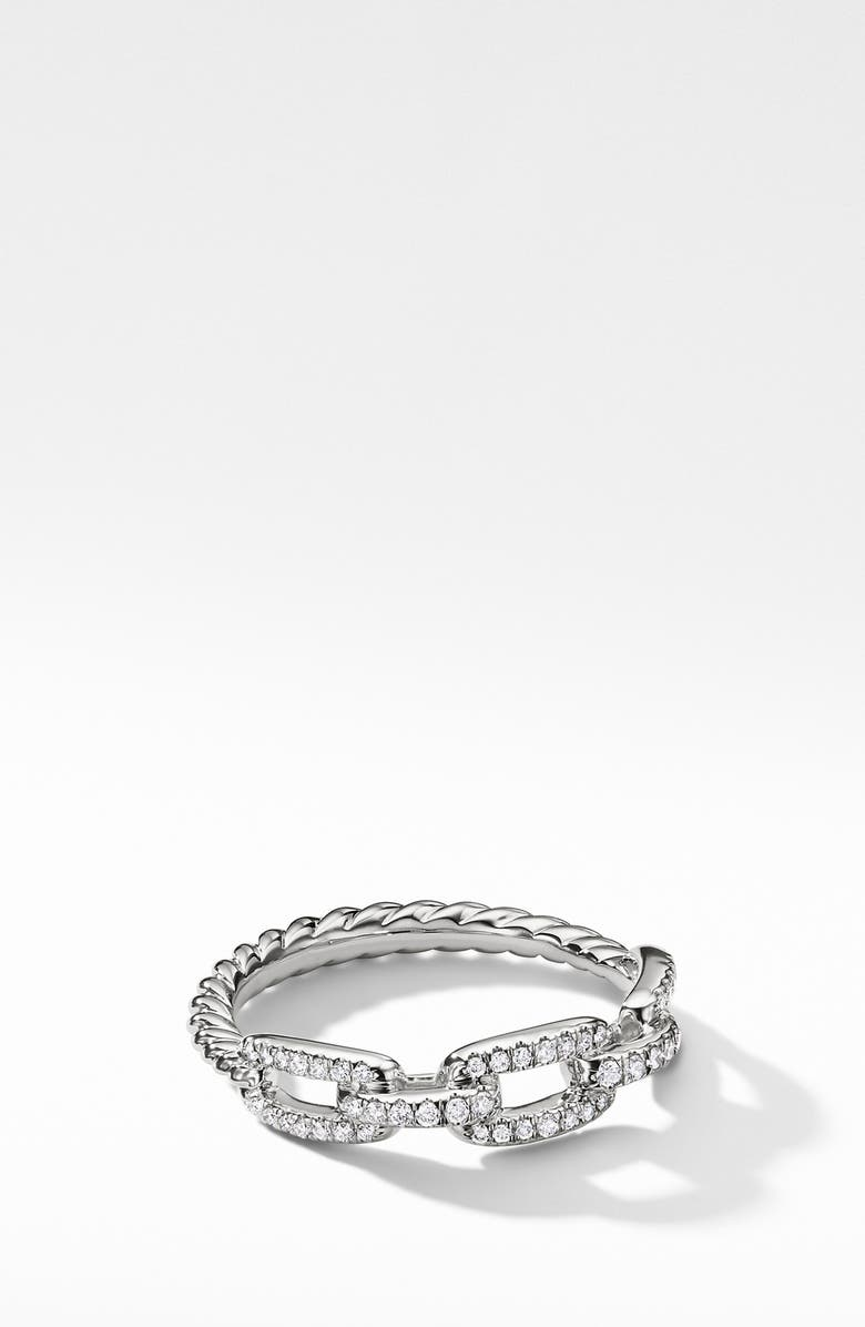 DAVID YURMAN Stax Single Row Pave Chain Link Ring with Diamonds in 18K White Gold, Main, color, WHITE GOLD