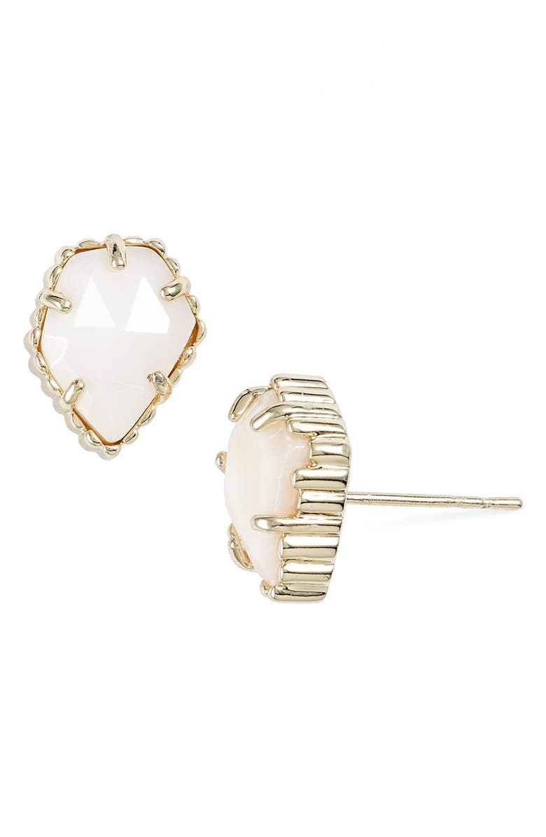 KENDRA SCOTT Tessa Stone Stud Earrings, Main, color, GOLD/ WHITE MOP