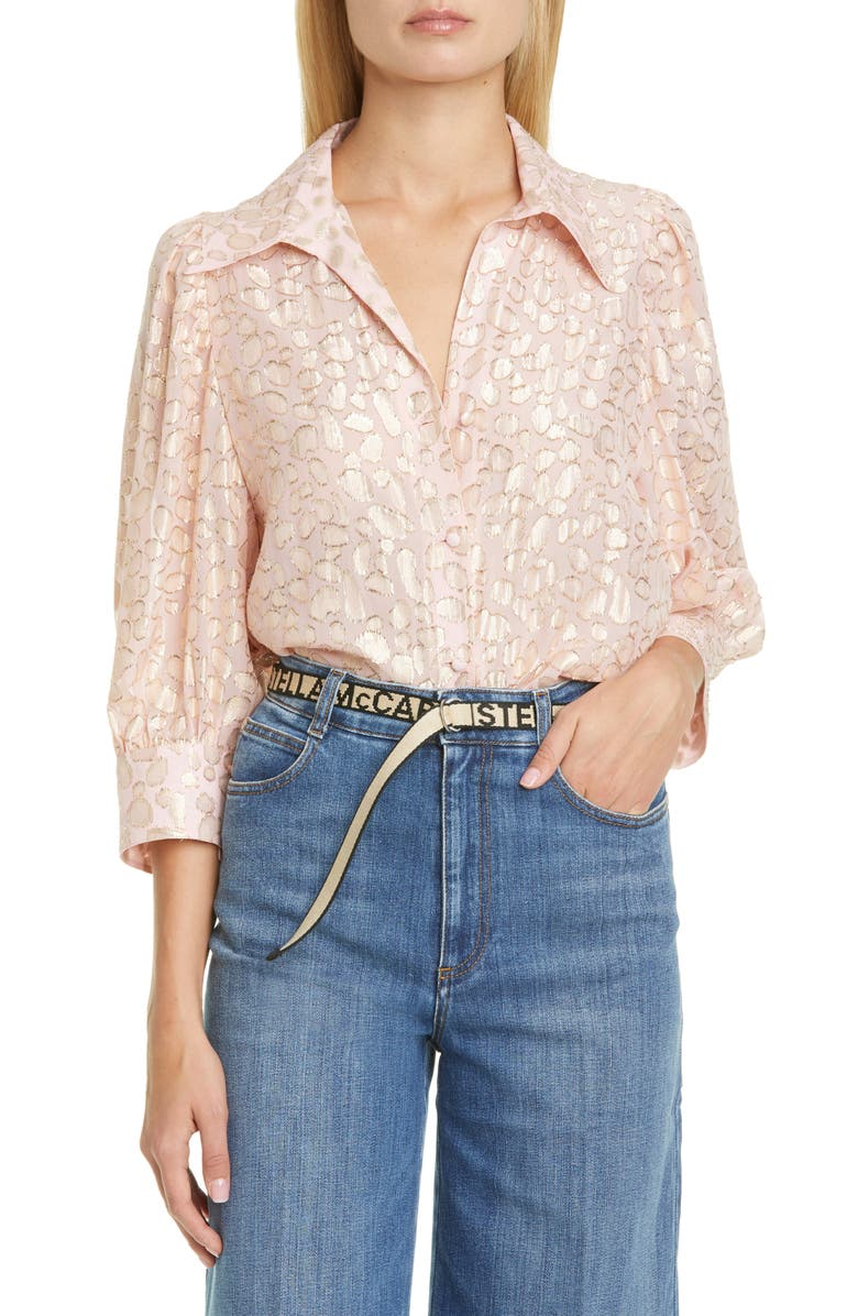 STELLA MCCARTNEY Reese Metallic Fil Coupé Dot Shirt, Main, color, 650