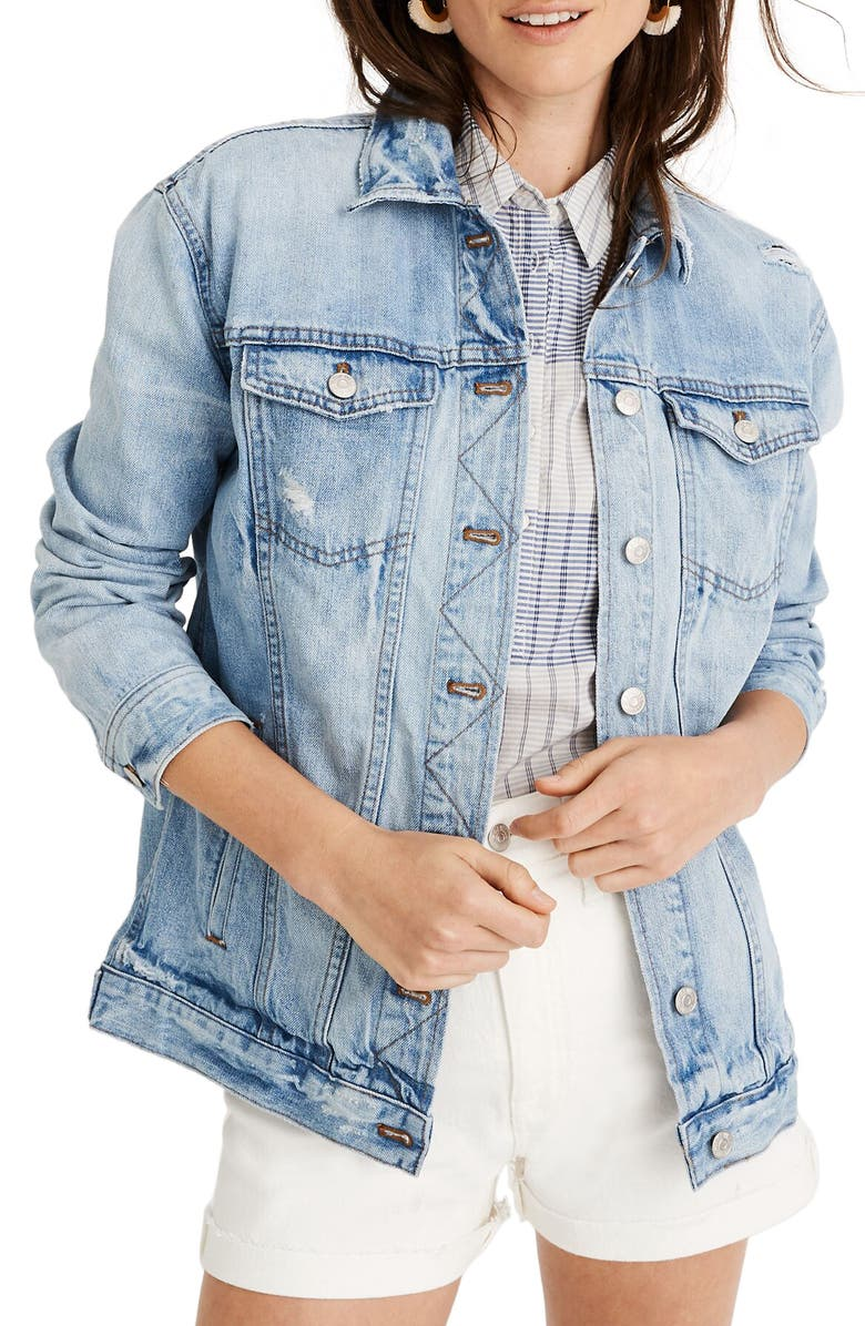 MADEWELL Distressed Oversize Jean Jacket, Main, color, 400