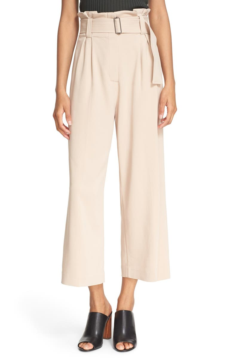 A.L.C. 'Dillon' Belted High Waist Gaucho Pants, Main, color, WHISPER