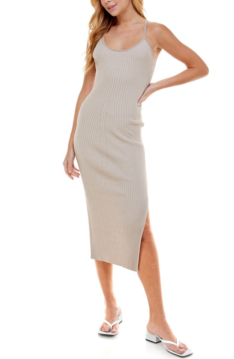 WAYF '98 Alicia T-Strap Midi Dress, Main, color, SAHARA SAND