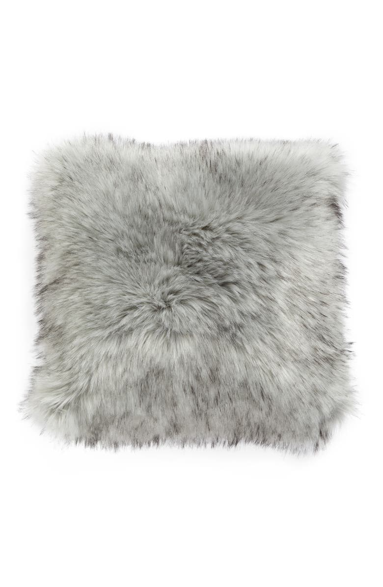 NORDSTROM at Home Faux Fur Accent Pillow, Main, color, GREY FOX
