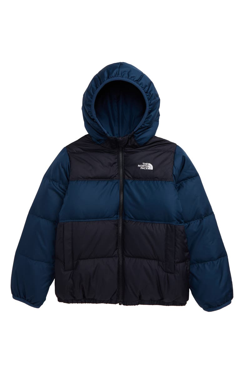 THE NORTH FACE Kids' 'Moondoggy' Water Repellent Reversible Down Jacket, Main, color, TNF BLACK/SHADY BLUE