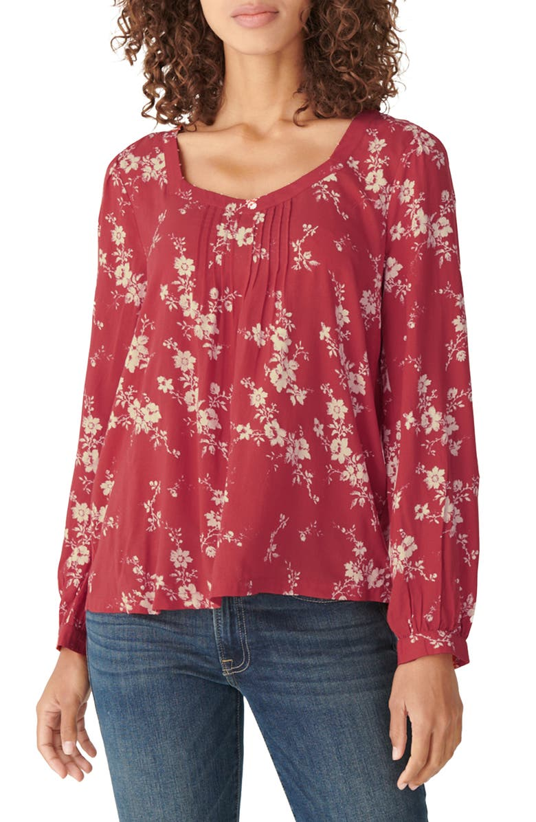 LUCKY BRAND Modern Peasant Blouse, Main, color, RED MULTI