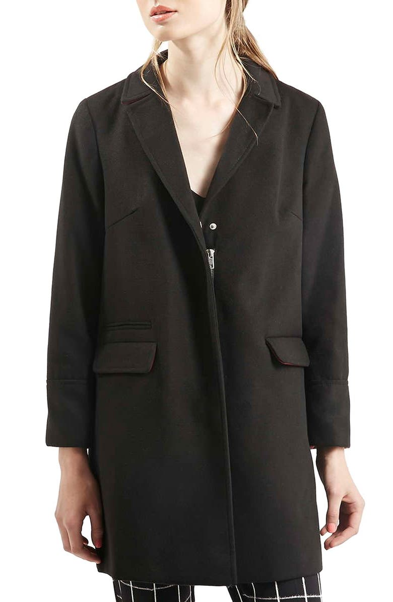 TOPSHOP 'Mia' Coat, Main, color, 001