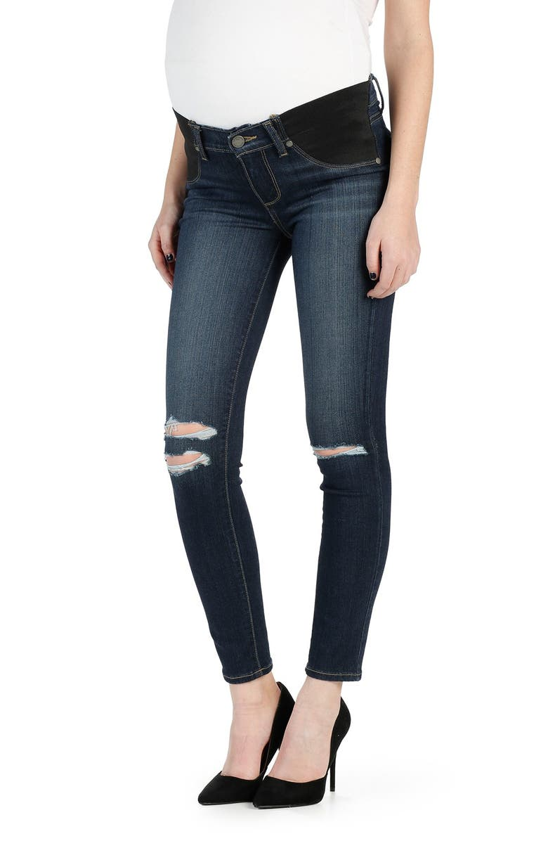 PAIGE Transcend - Verdugo Ripped Ankle Ultra Skinny Maternity Jeans, Main, color, NIA DESTRUCTED