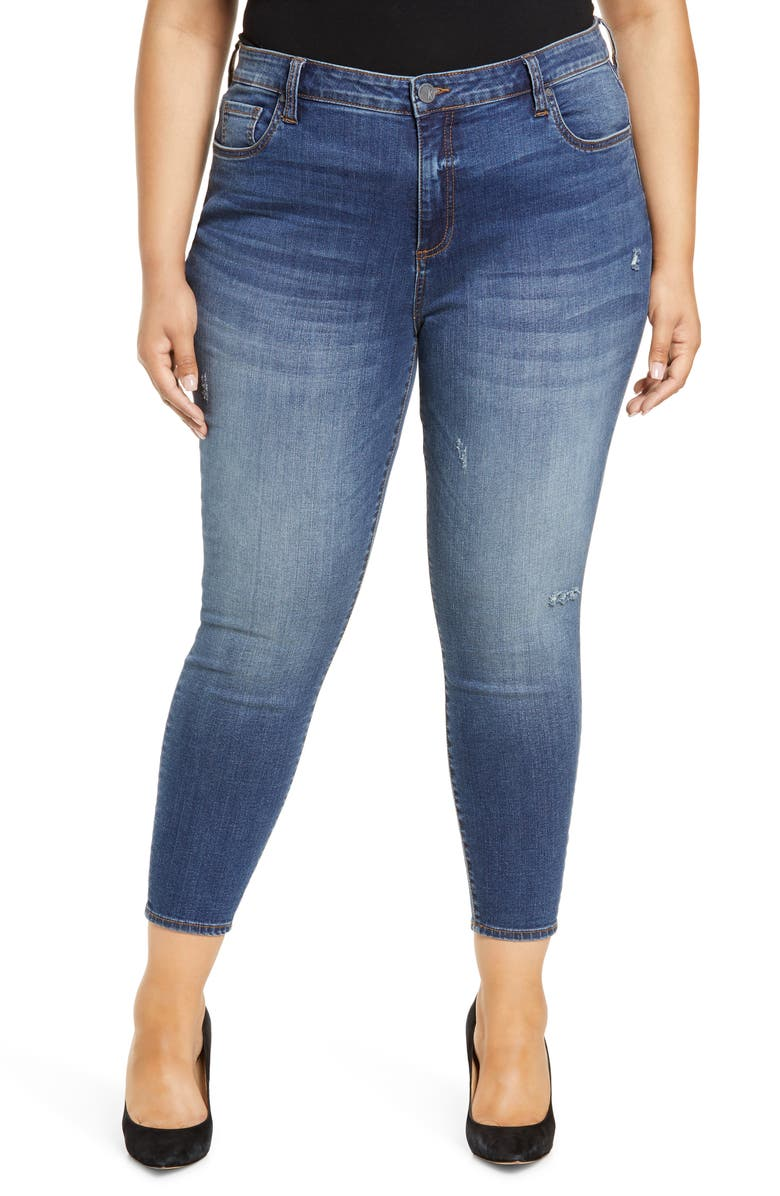 KUT FROM THE KLOTH Donna High Waist Distressed Ankle Skinny Jeans, Main, color, CUMULATED