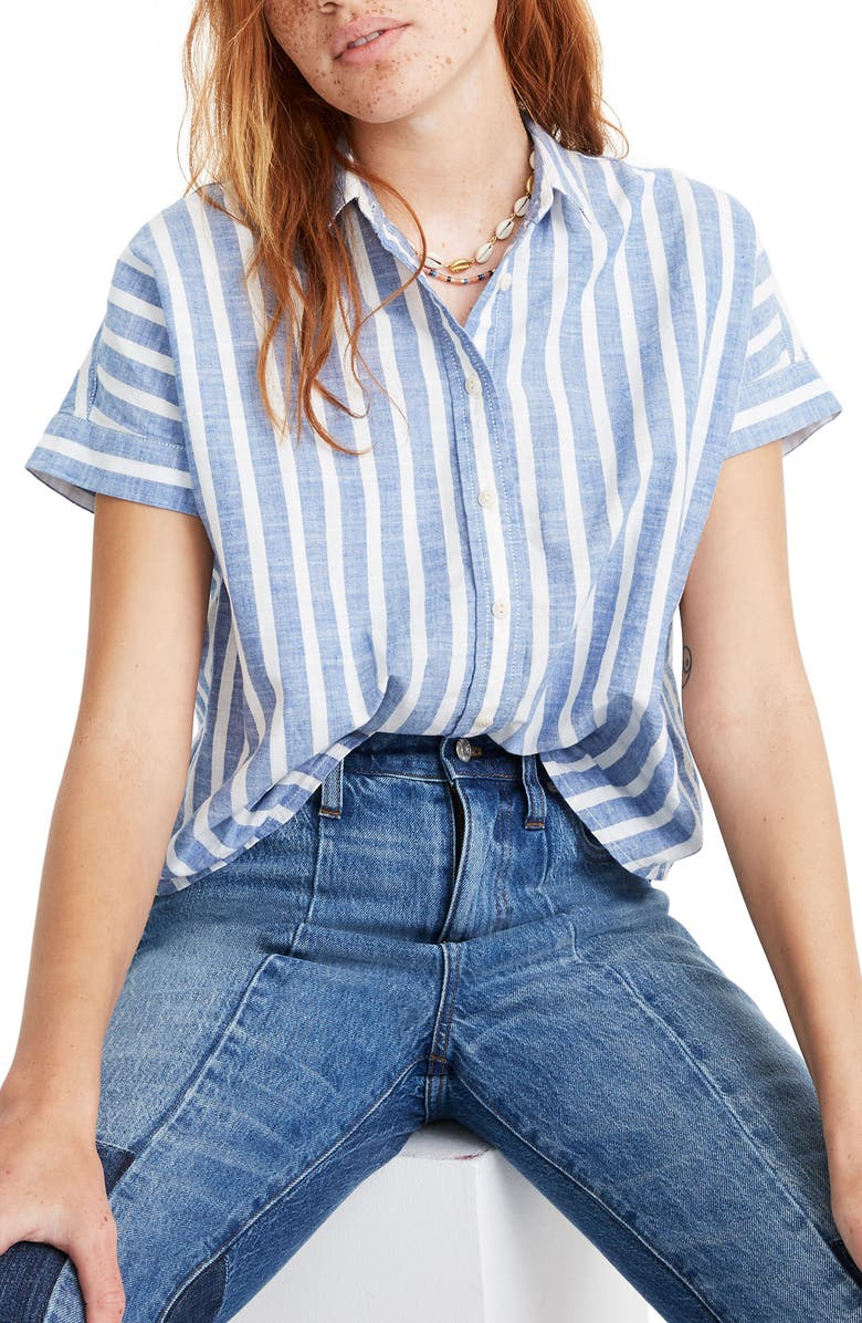 MADEWELL Stripe Crop Button-Up Shirt, Main, color, 400