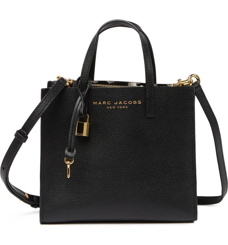 MARC JACOBS Mini Grind Coated Leather Tote, Main, color, BLACK