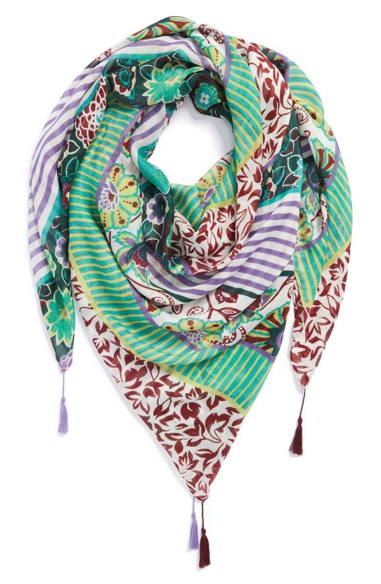 HINGE <sup>®</sup> 'Paradise Patchwork' Scarf, Main, color, 300